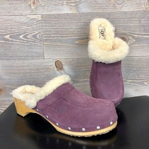 UGG Suede Purple Slip On Shearling Lined Mules